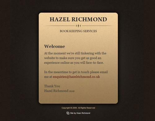 Hazel Richmond Holding Page